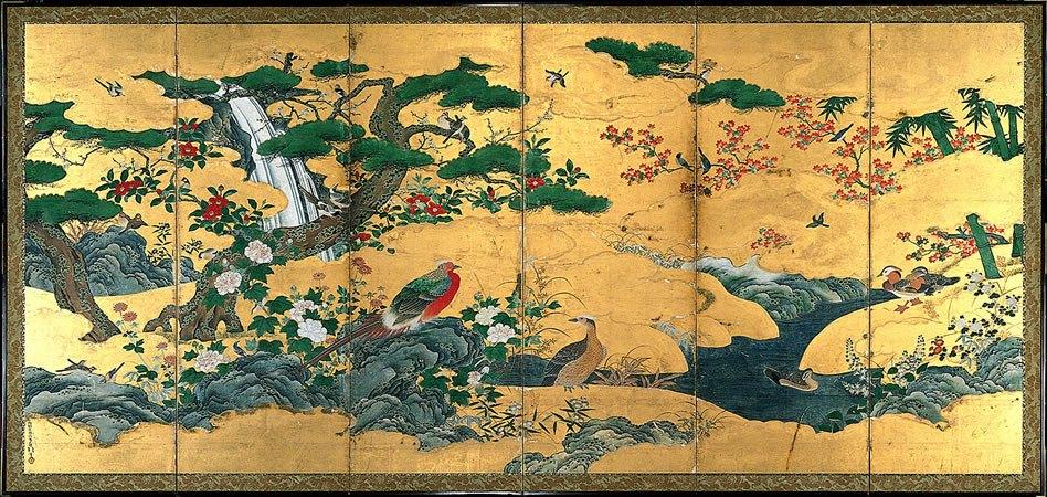 四季花鳥図屏風(一部)狩野元信