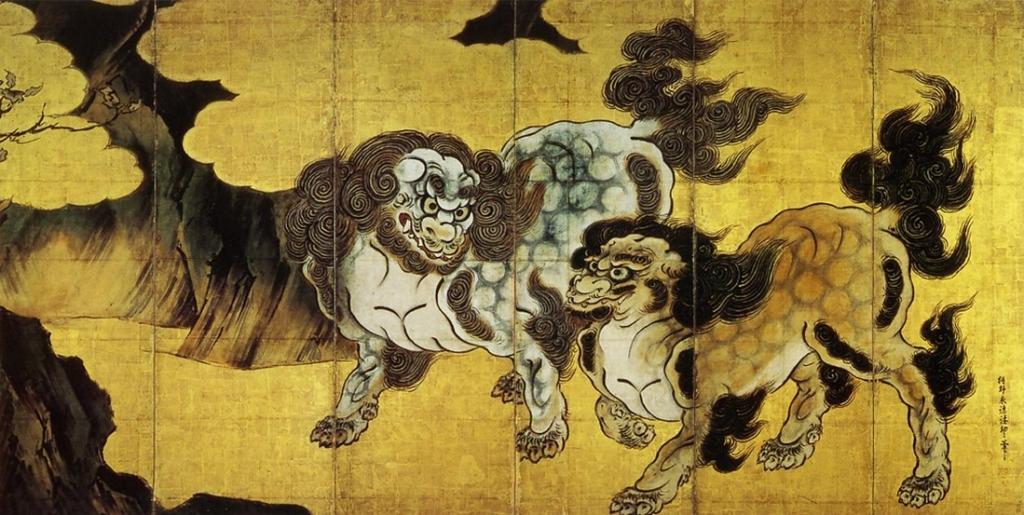 唐獅子図屏風 狩野永徳