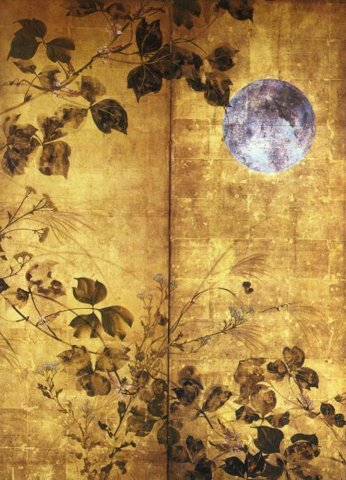 月に秋草図屏風