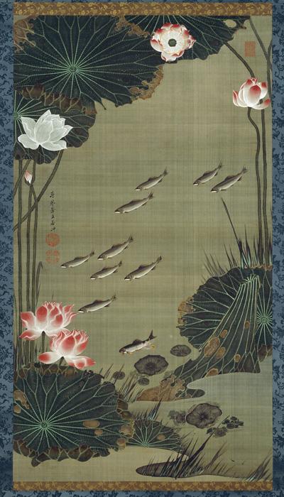 蓮池遊魚図
